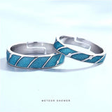 Couples Blue & Black Ocean Ring for Men & Women