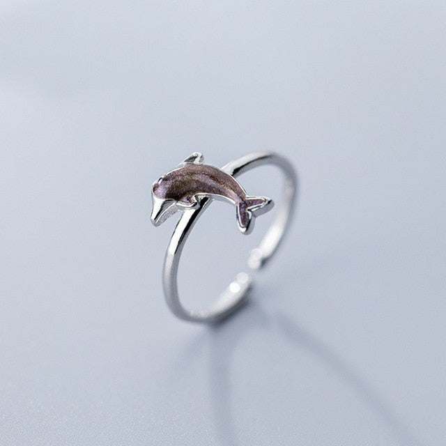 Sterling Silver Adjustable Dolphin Ring
