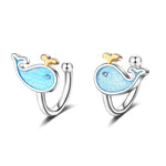 Blue Whale Hoop Earrings