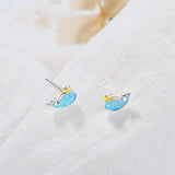 Blue Whale Stud Earrings