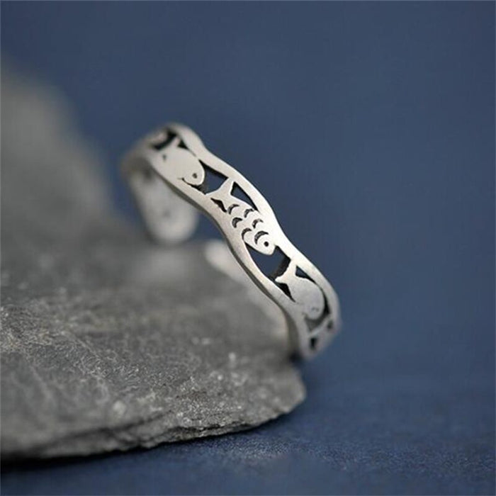 Adjustable 925 Sterling Silver Fish Ring