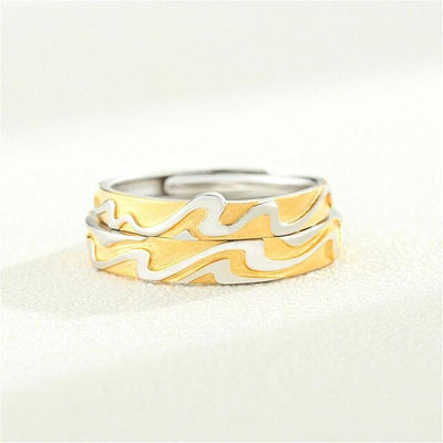 Couples Love Gold & Silver Ocean Wave Ring for Men & Women