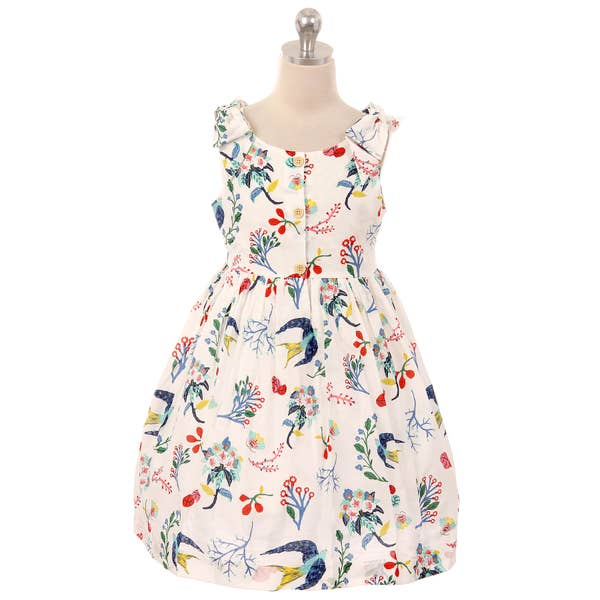 Cotton Shoulder Bow Button Dress - Ivory