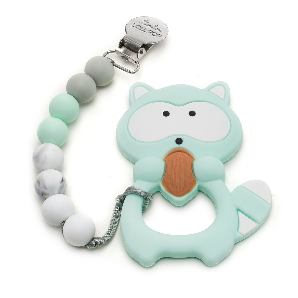 Raccoon Mint Silicone Teether Holder Set