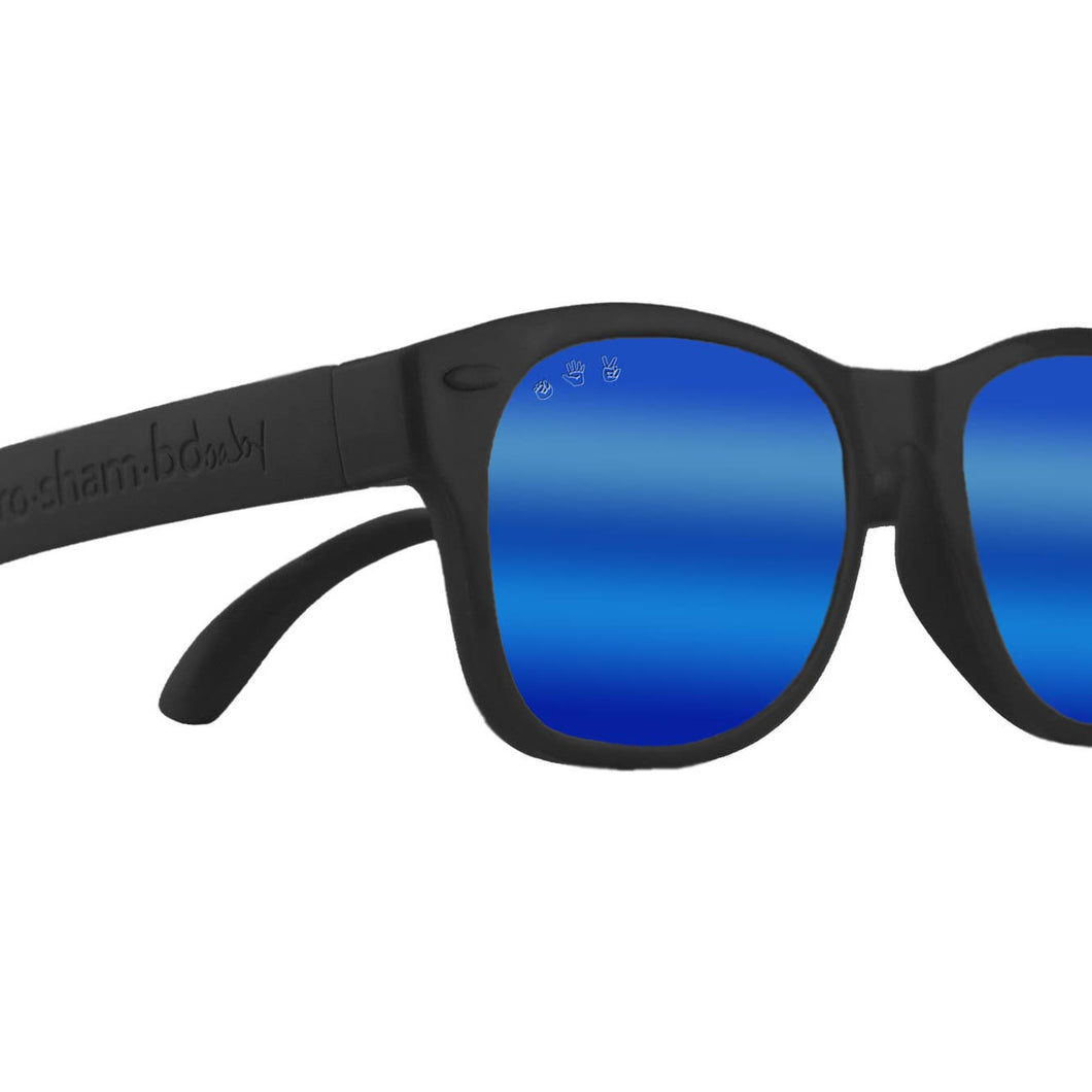 Bueller Black Baby Sunglasses Polarized Mirrored Blue