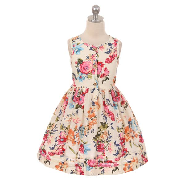 Bold Floral Button Dress  Floral