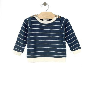 Waffle Stripe Pullover - Storm Cloud