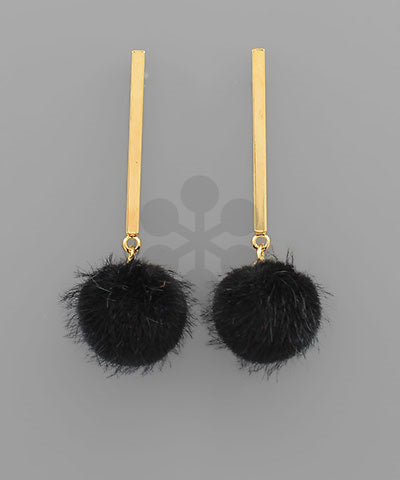 Pompom & Bar Earrings, Black