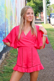 Wanna Be Romper, Hot Pink