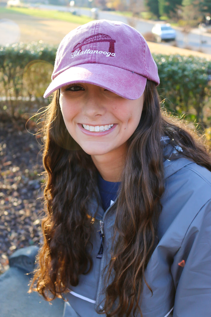 Chattanooga Walking Bridge Hat, Burgundy - Emmaline's