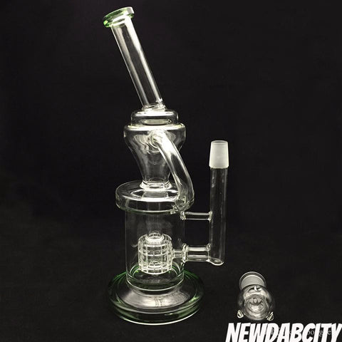 2017 Newest bong water pipe Cyclone 11.8inch Recycler glass bongs helix perc bong oil rig glass bubbler - New Dab City