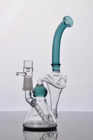 Mothership Glass - Dual Bubble Glass Bong / Oil Rig 14mm - New Dab City