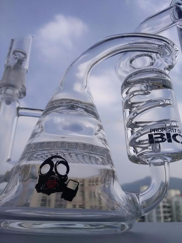 bio hookahs glass pipes recycler glass bong and honeycomb perc two functions glass water pipes has freezer oils glass pipes oil rig bong - New Dab City