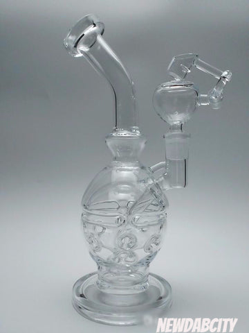 "Glass Bongs New 9"" Fab Egg Faberge Egg Water Pipes Oil Rigs Glass Bongs Recycler Oil Rig With 14.5mm Joint - New Dab City"