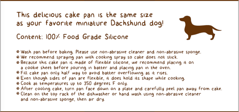 Dachshund Cake Pan Mould