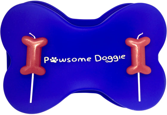 dog bone cake pan birthday candles red