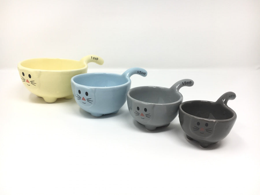 kitty cat measuring cups set of four ceramic stackable