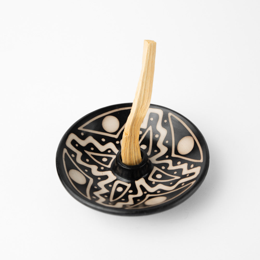 Palo Santo Holder - Black and White (includes 5 Palo Santo sticks) - Luna Sundara