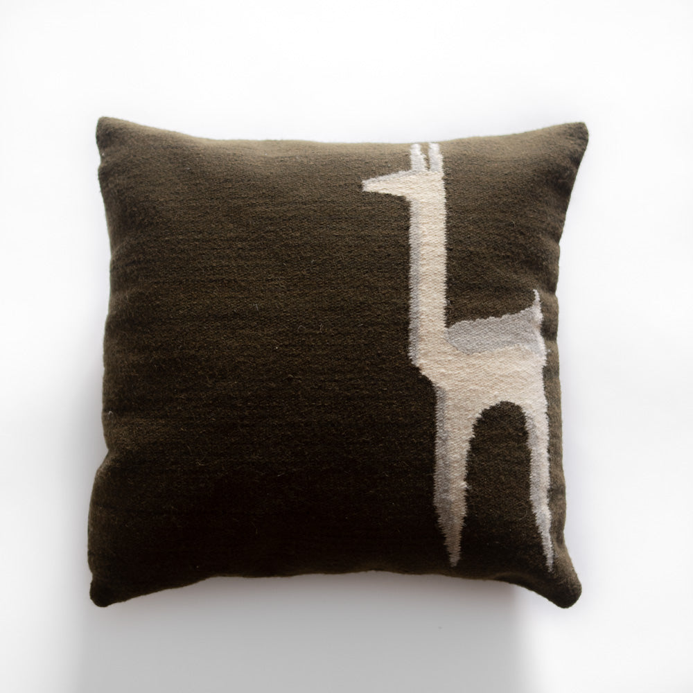 Handwoven Wool Cushion Cover  (Brown) - Luna Sundara