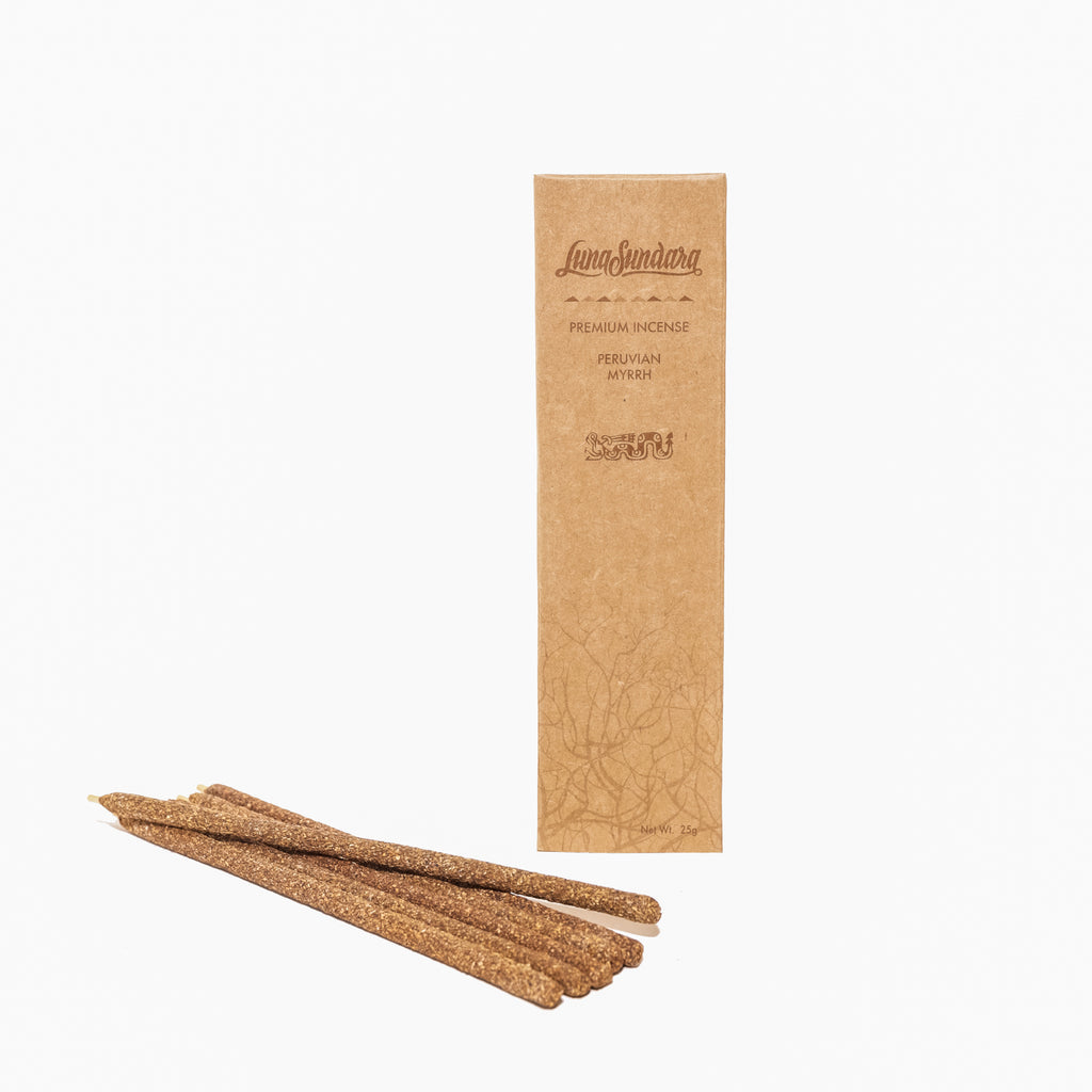 Premium Myrrh Hand Rolled Incense Sticks from 100% Wild Peruvian Myrrh
