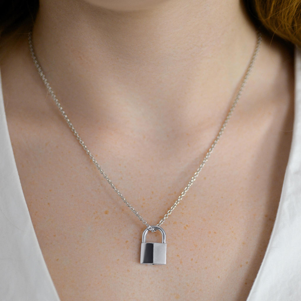 PADLOCK NECKLACE STERLING SILVER
