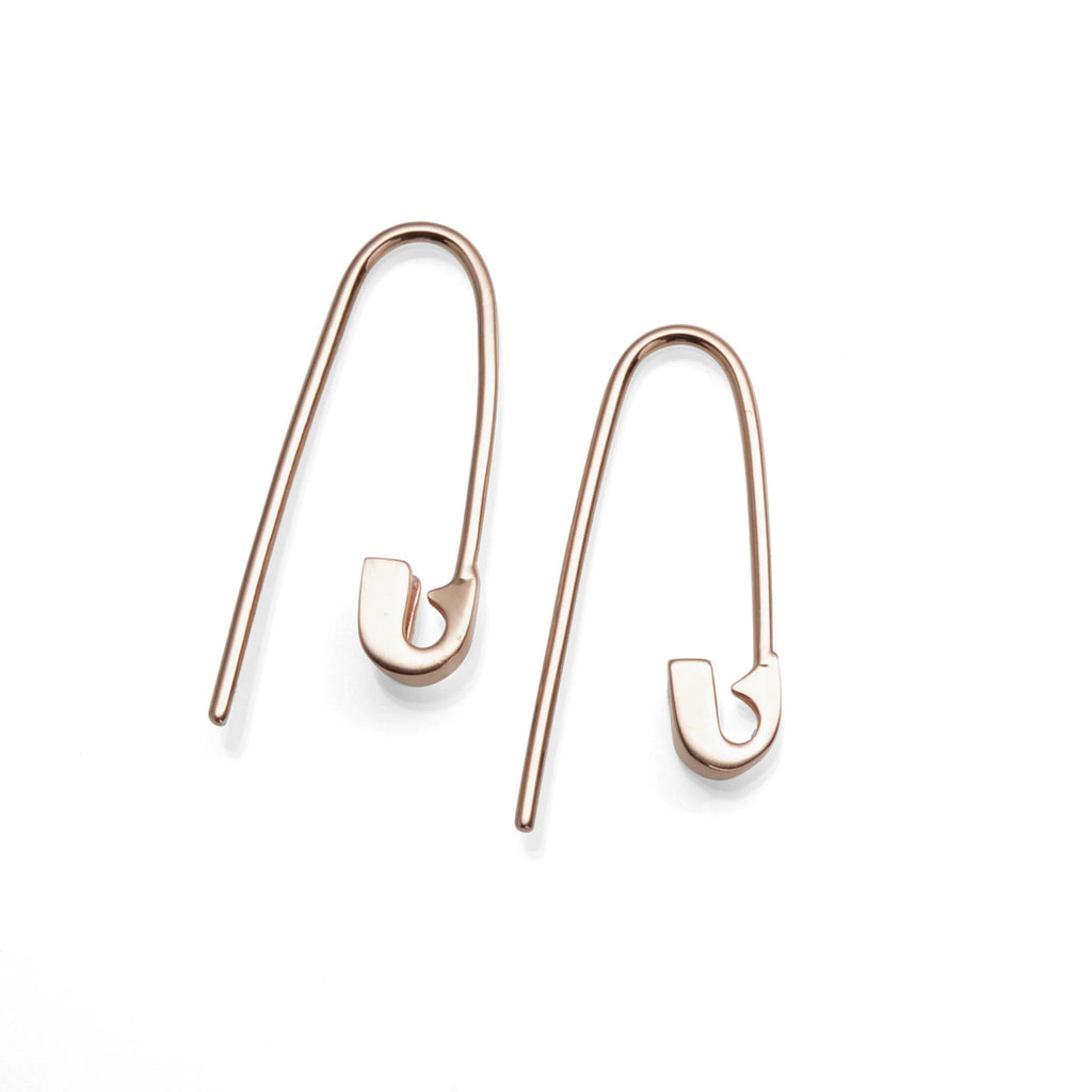 14K ROSE GOLD TINY SAFETY PIN HOOK EARRINGS