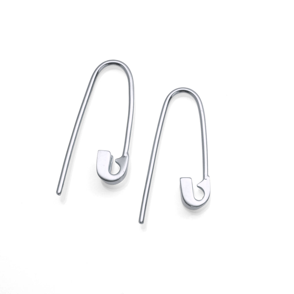 14K WHITE GOLD TINY SAFETY PIN HOOK EARRINGS