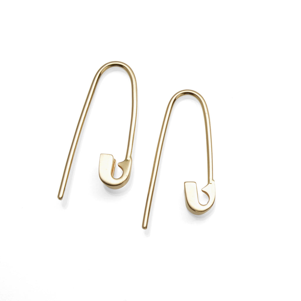 14K YELLOW GOLD TINY SAFETY PIN HOOK EARRINGS