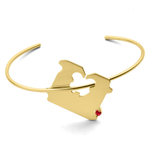 14K GOLD AND RUBY BREAD CLIP BRACELET