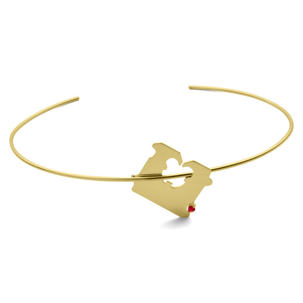 14K GOLD AND RUBY BREAD CLIP CHOKER