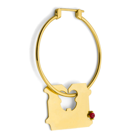 14K GOLD AND RUBY BREAD CLIP HOOP