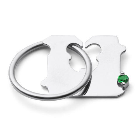 STERLING SILVER AND EMERALD BREAD CLIP RING
