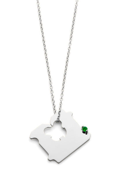 STERLING SILVER AND EMERALD BREAD CLIP NECKLACE