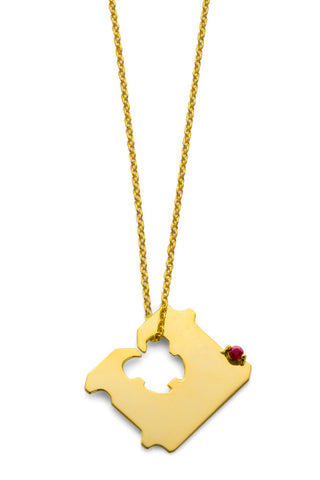 14K GOLD AND RUBY BREAD CLIP NECKLACE
