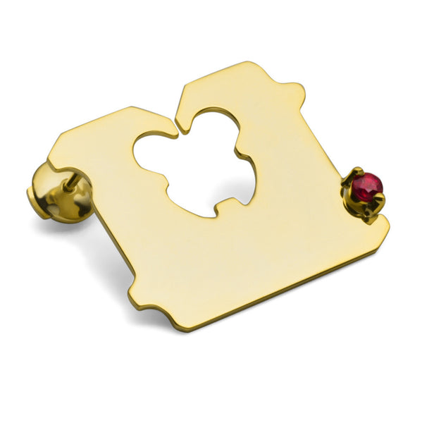 14K GOLD AND RUBY BREAD CLIP EARRING