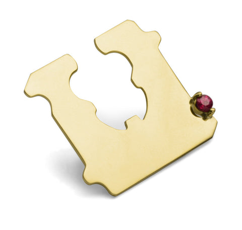 14K GOLD AND RUBY BREAD CLIP EAR CUFF