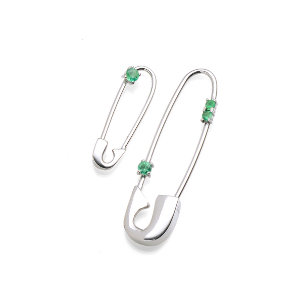 EMERALD SAFETY PIN EARRING SET LIMITED EDITION