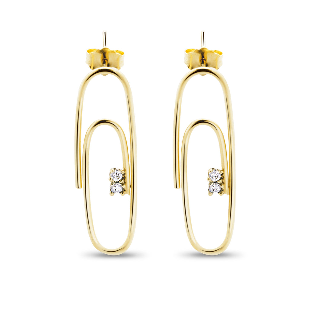 14K YELLOW GOLD AND DIAMOND PAPERCLIP EARRINGS