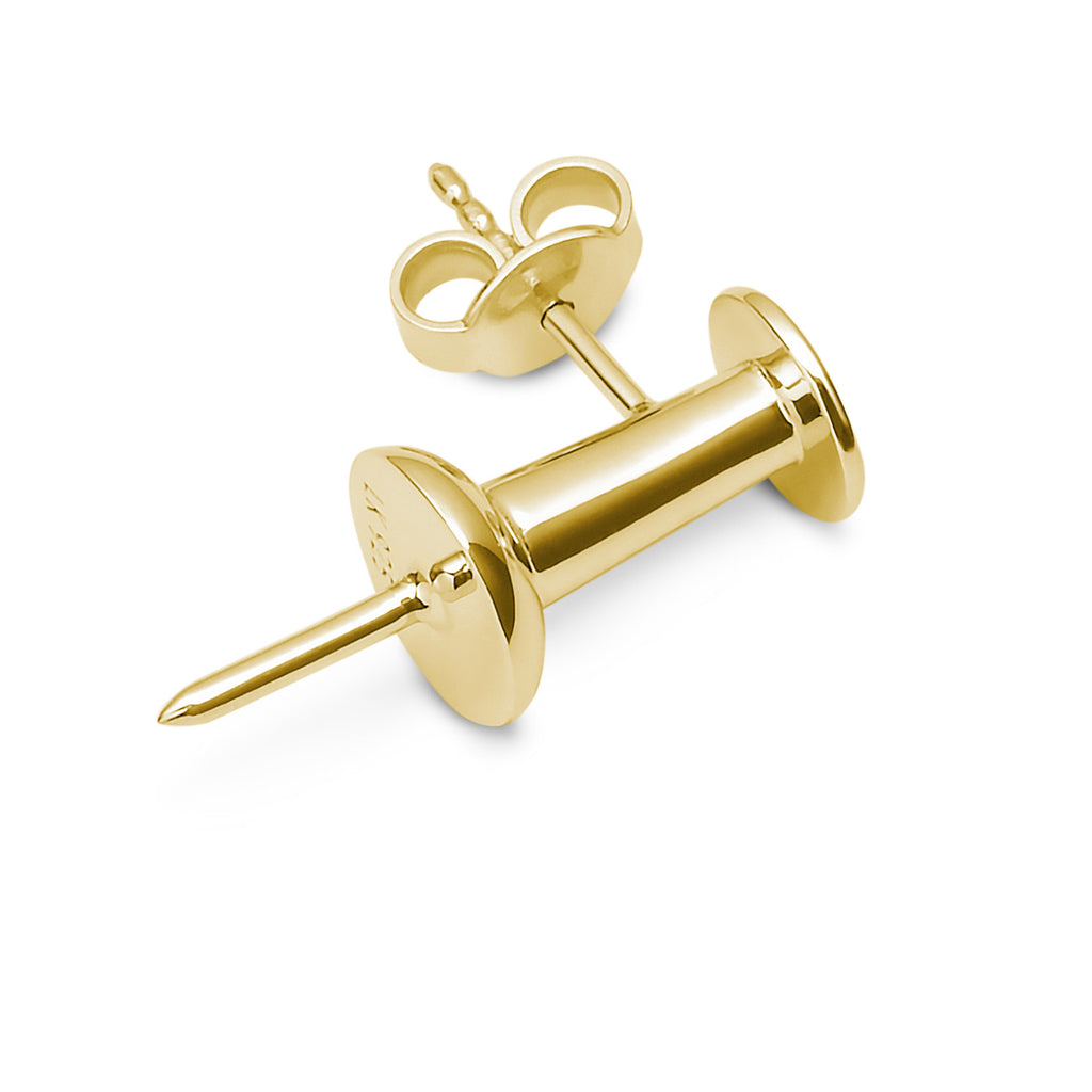 14K YELLOW GOLD PUSHPIN EARRING