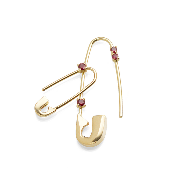 LIMITED EDITION RUBY SAFETY PIN EARRING SET
