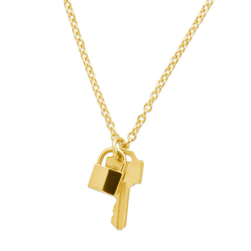 14K YELLOW GOLD LOCK AND KEY NECKLACE