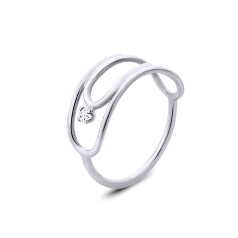14K WHITE GOLD PAPERCLIP RING