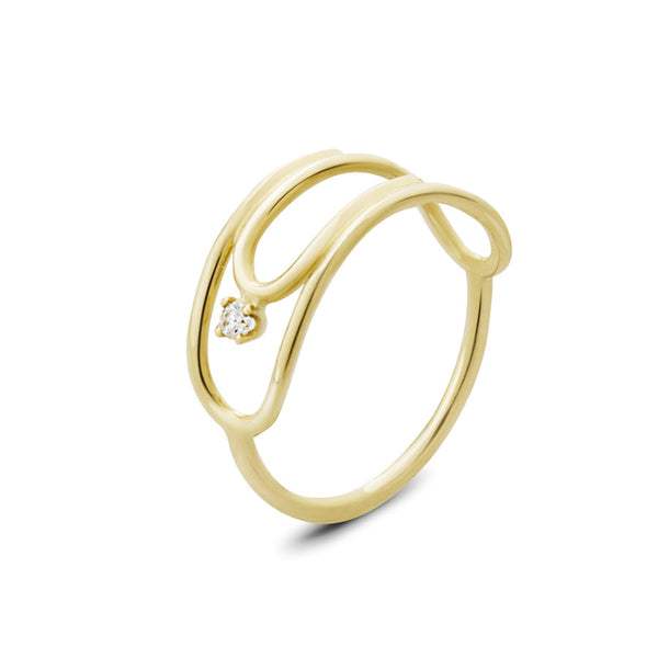 14K YELLOW GOLD PAPERCLIP RING