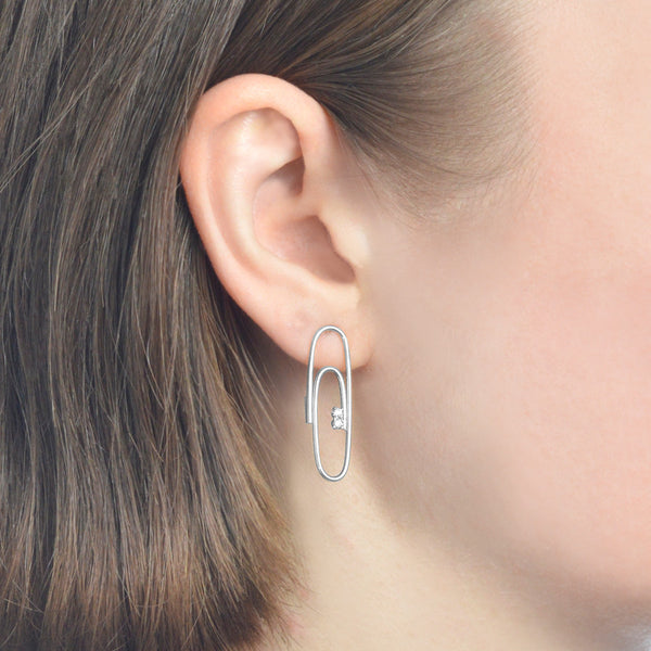 WHITE GOLD WITH DIAMOND PAPERCLIP EARRINGS