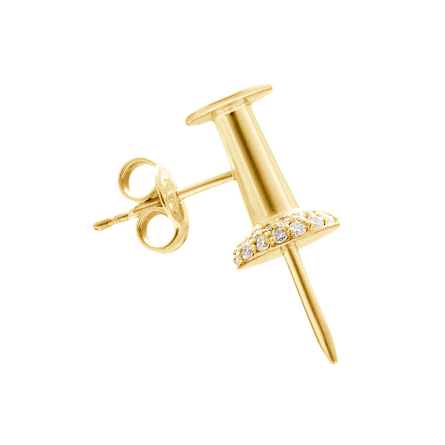 14K GOLD AND DIAMOND PUSHPIN EARRING
