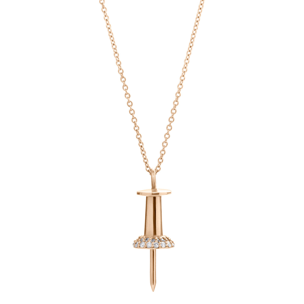 14K ROSE GOLD WITH DIAMOND PUSHPIN NECKLACE