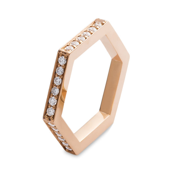 14K ROSE GOLD HEXAGON BAND
