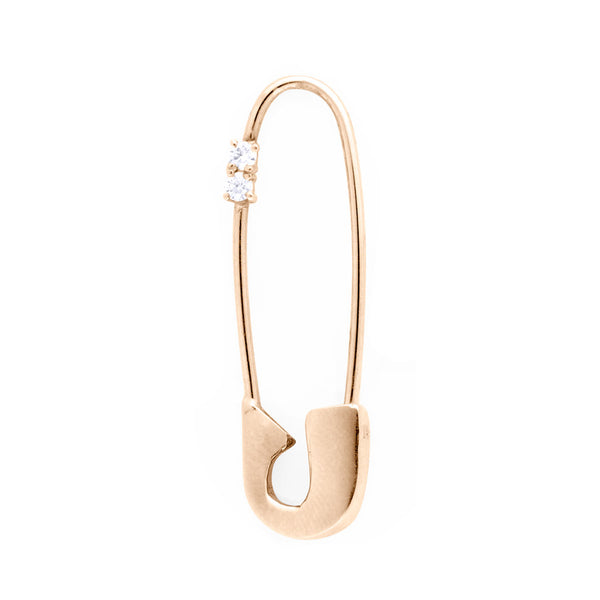 14K ROSE GOLD DIAMOND SAFETY PIN EARRING