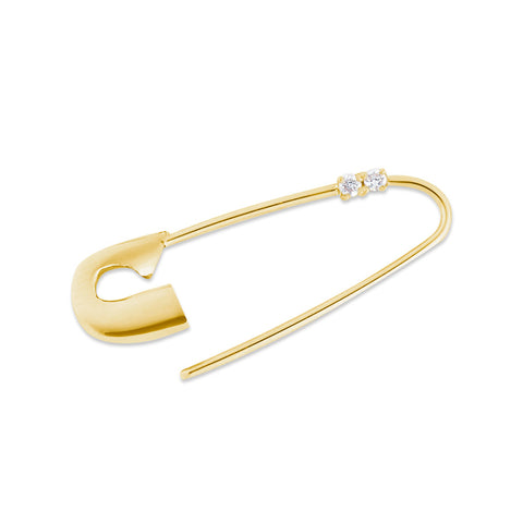 14K YELLOW GOLD DIAMOND SAFETY PIN EARRING
