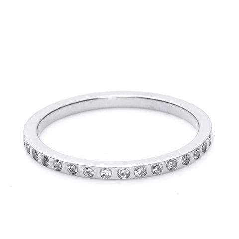 14K WHITE GOLD SKINNY DIAMOND BAND